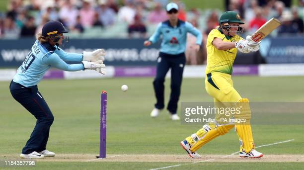 Australia's Beth Mooney plays a shot past England's Sarah Taylor during the Third One Day International of the Women's Ashes Series at The Spitfire...