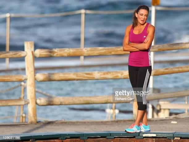 Australia's Biggest Loser host Michelle Bridges is seen duing a photoshoot at Bronte Beach on August 30 2011 in Sydney Australia