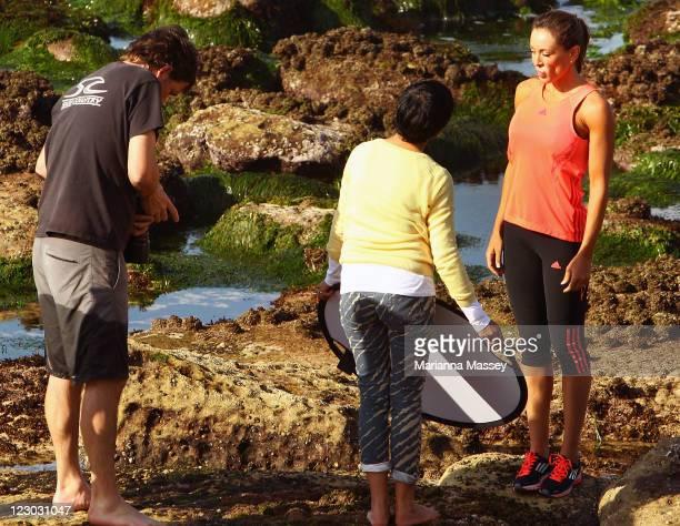 Australia's Biggest Loser host Michelle Bridges is seen during a photo shoot at Bronte Beach on August 30 2011 in Sydney Australia