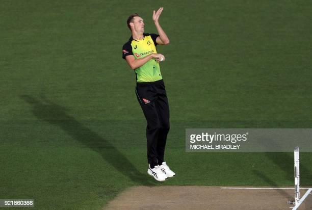 Australia's Billy Stanlake bowls during the final Twenty20 Tri Series international cricket match between New Zealand and Australia at Eden Park in...