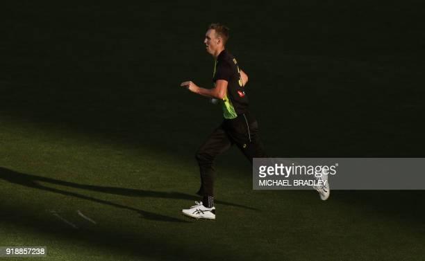 Australia's Billy Stanlake bowls during the Twenty20 Tri Series international cricket match between New Zealand and Australia at Eden Park in...