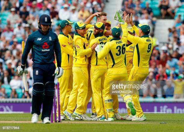 Australia's Billy Stanlake celebrates taking the wicket of England's Jason Roy for no runs during the first One Day International cricket match...