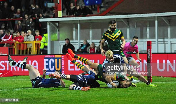 Australia's Blake Ferguson scores his sides first try during the Four Nations match between the Australian Kangaroos and Scotland at Lightstream...