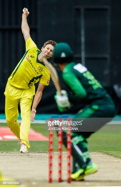 Australia's bowler Andrew Tye delivers the ball during the fifth T20 cricket match between Pakistan and Australia one of a T20 triseries including...