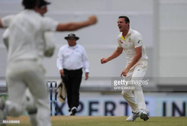 Australia's bowler Josh Hazlewood celebrates the dismissal of England's Jonny Bairstow on day five of the third Ashes cricket Test match between...