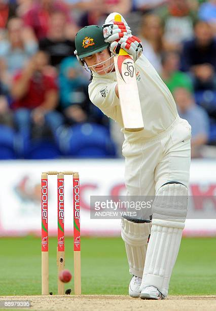 Australia's Brad Haddin bats against England during the fourth day of the first Ashes cricket Test match in Cardiff, in Wales, on July 11, 2009. AFP...