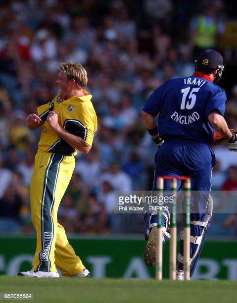 Australia's Brad Williams celebrates his dismissal of England's Ronnie Irani