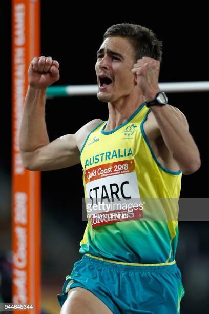 Australia's Brandon Starc celebrates winning the athletics men's high jump final during the 2018 Gold Coast Commonwealth Games at the Carrara Stadium...