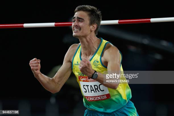 Australia's Brandon Starc reacts as he competes in the athletics men's high jump final during the 2018 Gold Coast Commonwealth Games at the Carrara...