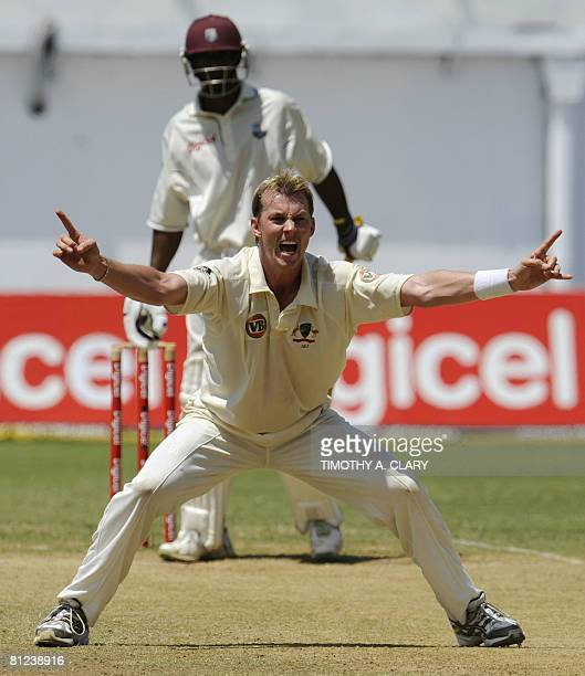 Australia's Brett Lee yells after getting a wicket on West Indies batsman Runako Morton during the 2008 Digicel Home Series at Sabina Park in...