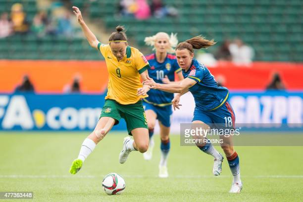 Australia's Caitlin Foord and Sweden's Jessica Samuelsson vie for the ball during their FIFA Women's World Cup Group D match at Commonwealth Stadium...