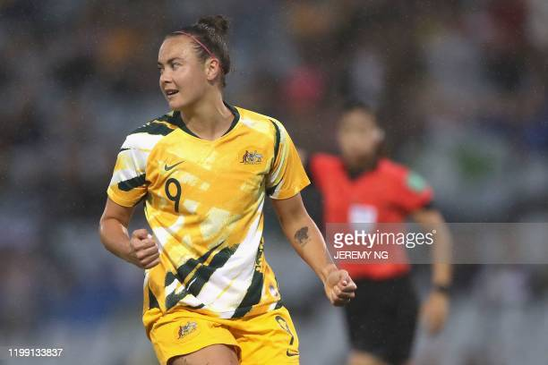 Australias Caitlin Foord celebrates scoring a goal during the women's Olympic football tournament qualifier match between Taiwan and Australia at...