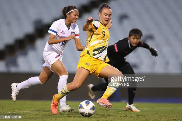 Australias Caitlin Foord controls pass Taiwan's goalkeeper Cheng Ssuyu and Li Peijung during the women's Olympic football tournament qualifier match...