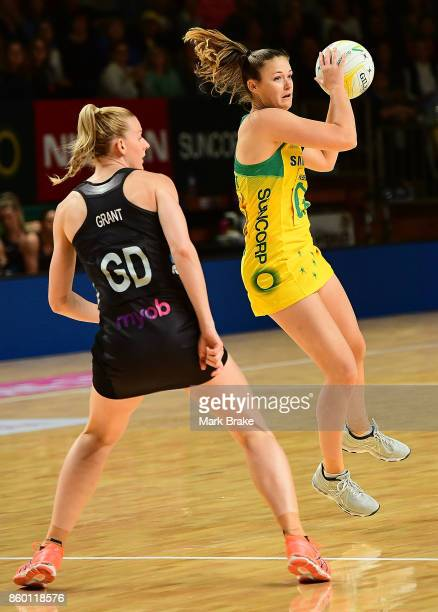 Australia's Caitlin Thwaites during the 2017 Constellation Cup match between the Australia Diamonds and New Zealand Silver Ferns at Titanium Security...