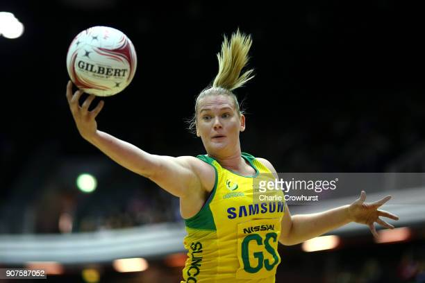 Australia's Caitlin Thwaites in action during the Netball Quad Series Vitality Netball International match between South Africa and Australia at...