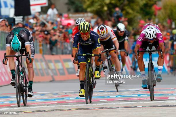 Australia's Caleb Ewan of the Orica team sprints to win the 7th stage of the 100th Giro d'Italia Tour of Italy cycling race from Castrovillari to...