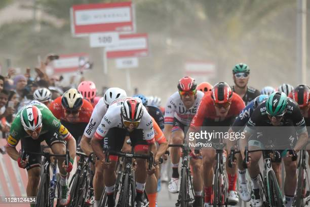 Australia's Caleb Ewans from Lotto Soudal Team wins Sharjah Fifth Stage of UAE Tour 2019, a 181km with a start from Sharjah-Flag Island and finish in...