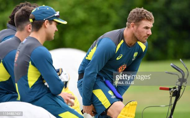 Australia's captain Aaron Finch prepares to bat as he attends a training session at Edgbaston in Birmingham central England on July 10 ahead of their...