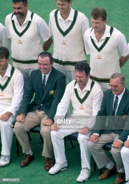 Australia's captain Allan Border and team coach Bob Simpson line up with the rest of the team for a team photograph during the 1st Test match between...