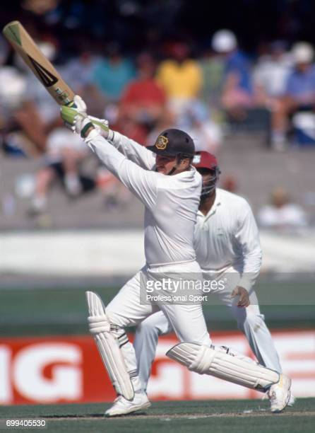 Australia's captain Allan Border batting during his innings of 73 in the 1st Test match between Australia and West indies at the Gabba Brisbane...