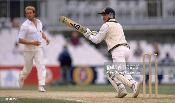 Australia's captain Allan Border takes a run while batting during his innings of 76 in the 6th Test match between England and Australia at The Oval...