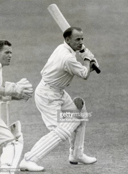 Australia's captain Don Bradman batting during his innings of 107 in the tour match between Worcestershire and the Australians at New Road,...