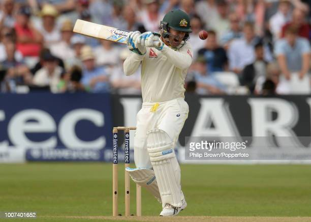 Australia's captain Michael Clarke has trouble with a bouncer from Mark Wood of England during the 4th Ashes Test match between England and Australia...