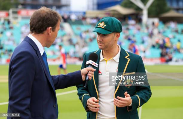 Australia's captain Michael Clarke is interviewed by Michael Atherton
