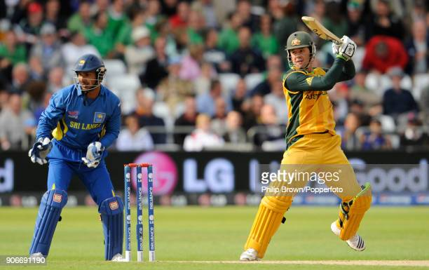 Australia's captain Ricky Ponting hits a boundary during the ICC World Twenty20 group match between Australia and Sri Lanka at Trent Bridge...