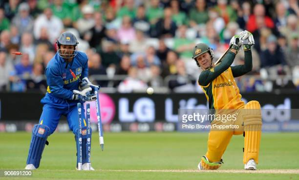 Australia's captain Ricky Ponting is bowled for 25 during the ICC World Twenty20 group match between Australia and Sri Lanka at Trent Bridge...