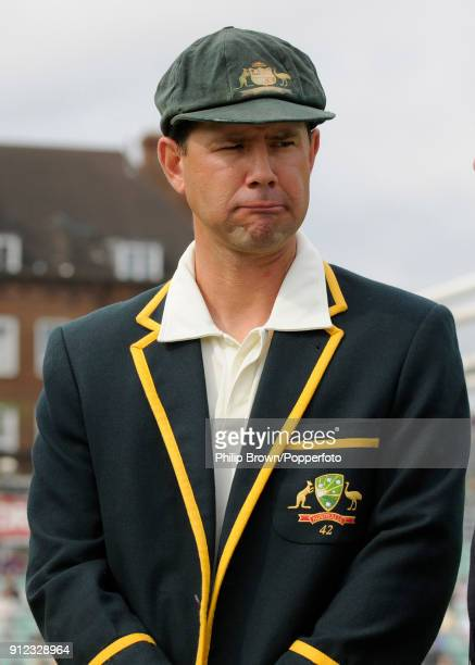 Australia's captain Ricky Ponting reacts during the coin toss before the 5th Test match between England and Australia at The Oval London 20th August...