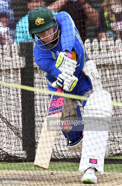 Australia's captain Steve Smith bats in the nets during cricket training at the SCG in Sydney on January 2 2017 Australia take on Pakistan in the...