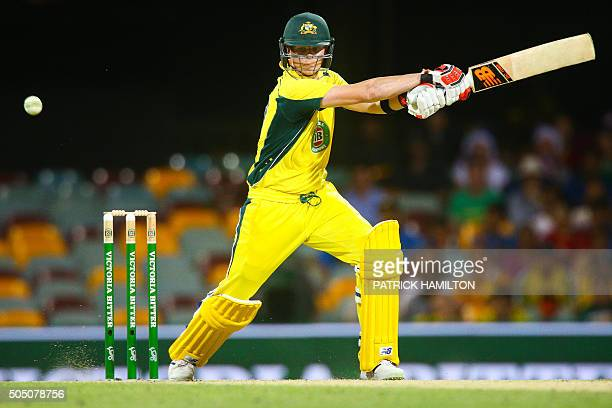 TOPSHOT Australia's captain Steven Smith bats a Ravindra Jadeja ball during the oneday international cricket match between India and Australia in...