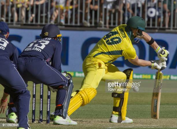 Australia's captain Steven Smith misses and is stumped by England's wicketkeeper Jos Buttler during the fifth oneday international cricket match...