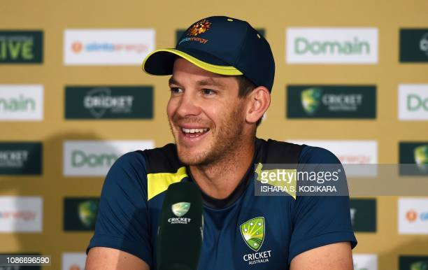 Australia's captain Tim Paine smiles during a press conference at The Gabba in Brisbane on January 23 ahead of their first daynight Test match...