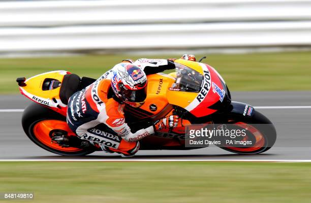 Australia's Casey Stoner on the Repsol Honda during practice for the British round of Moto GP at Silverstone Circuit, Northamptonshire.