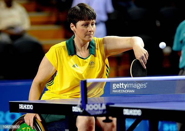 Australia's Catherine Morrow competes against South Africa's Aletta Madgalena Moll in the women's singles wheelchair table tennis semifinal at the...