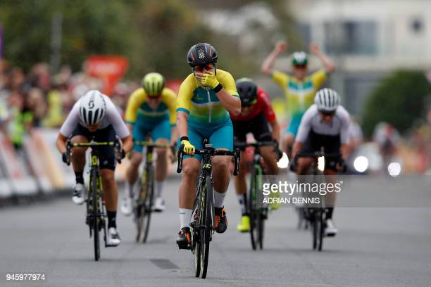 Australia's Chloe Hosking sprints along the final straight as she approaches the finish line to win the women's cycling road race event during the...