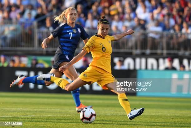 Australia's Chloe Logarzo scores past USA's Abby Dahlkemper during the 2018 Tournament of Nations at Pratt Whitney Stadium at Rentschler Field on...