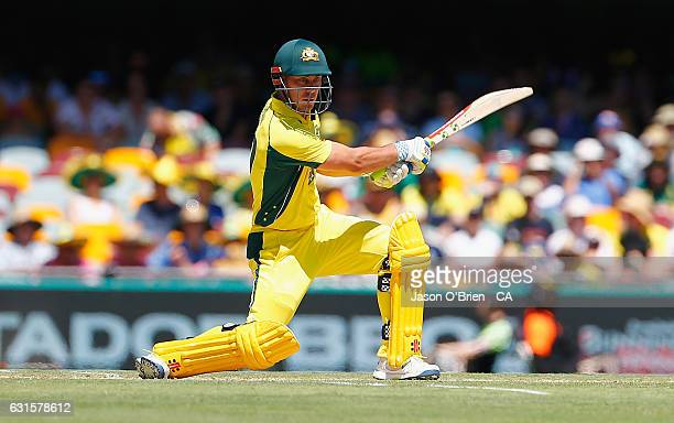 Australia's Chris Lynn in action during game one of the One Day International series between Australia and Pakistan at The Gabba on January 13 2017...