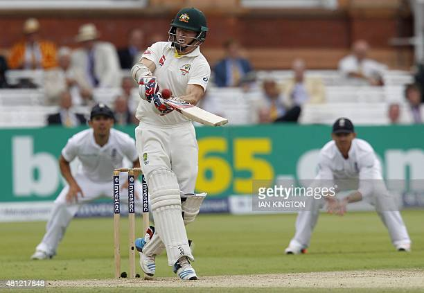 Australias Chris Rogers plays a shot during play on the third day of the second Ashes cricket test match between England and Australia at Lord's...