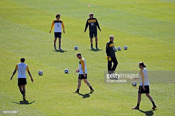 Australia's coach Pim Verbeek watches players train at Ruimsig Stadium in Roodepoort on June 20 2010 during the 2010 World Cup football tournament...