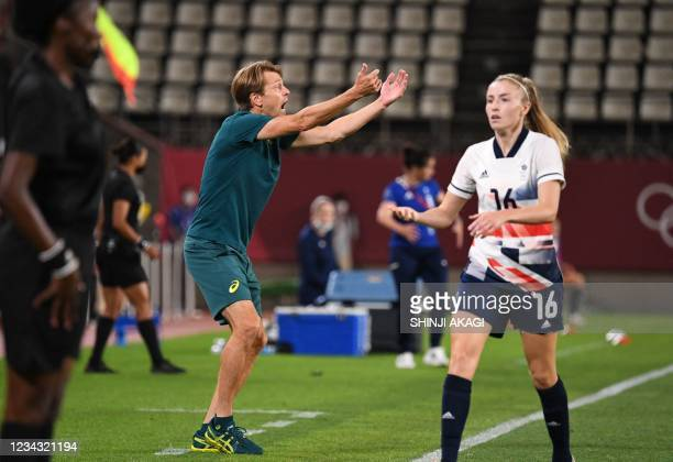 Australia's coach Tony Gustafsson shouts during the Tokyo 2020 Olympic Games women's quarter-final football match between Britain and Australia at...