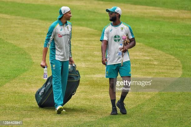 Australia's Cricket Ashton Agar during practice session at Sher e Bangla National Cricket Stadium in Dhaka, Bangladesh on August 2, 2021. Ahead of...