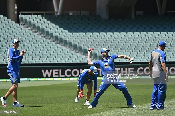 Australia's cricket captain Steve Smith throws a ball in practice ahead of the third Test cricket match between Australia and South Africa at the...