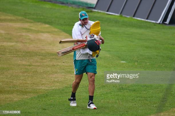 Australia's Cricket Player Mitchell Marsh during practice session at Sher e Bangla National Cricket Stadium in Dhaka, Bangladesh on August 2, 2021....