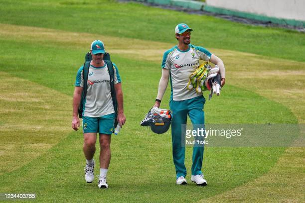 Australia's Cricket Player Mitchell Starc during practice session at Sher e Bangla National Cricket Stadium in Dhaka, Bangladesh on August 1, 2021....