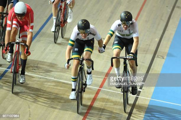 Australia's cycling team relay during the men's madison final during the UCI Track Cycling World Championships in Apeldoorn on March 4 2018 / AFP...