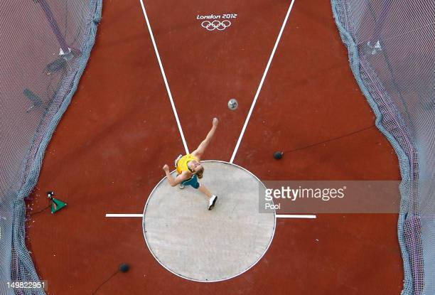 Australia's Dani Samuels competes in the Women's Discus Throw Final on Day 8 of the London 2012 Olympic Games at Olympic Stadium on August 4 2012 in...