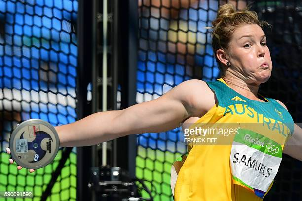 Australia's Dani Samuels competes in the Women's Discus Throw Final during the athletics competition at the Rio 2016 Olympic Games at the Olympic...
